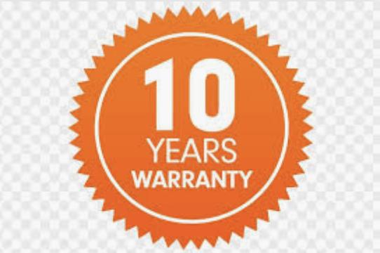 10 year standard warranty